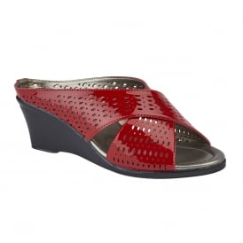 Red Martina Leather Wedge Mule Sandals | Lotus