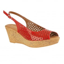 Red Nile Sling-Back Wedge Sandals | Lotus
