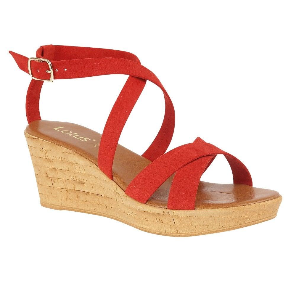 9b055f255b4 Buy the red Lotus ladies  Nora wedge sandal online