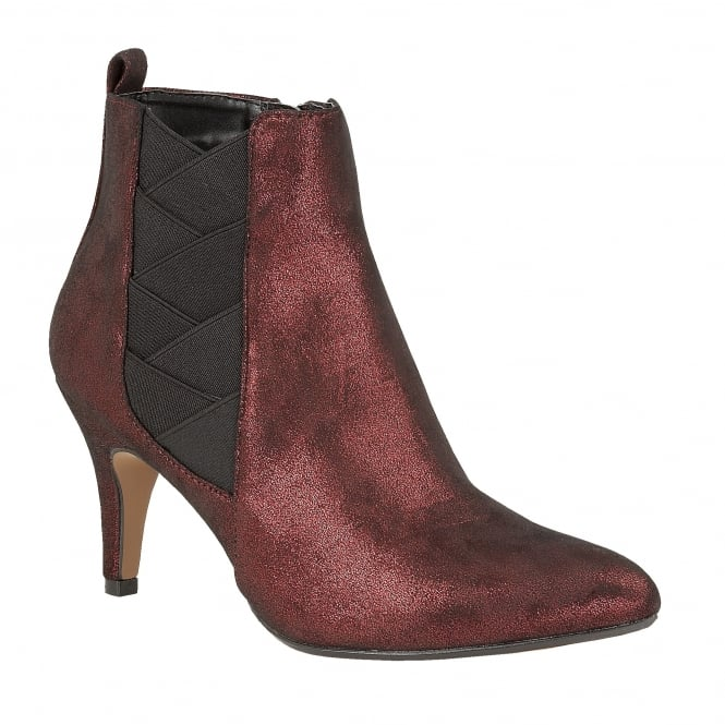 Red Shimmer Booney Ankle Boots