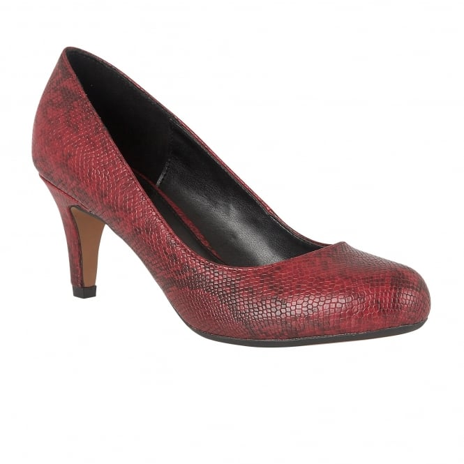 Red Snake Printed Ardice Court Shoes | Lotus