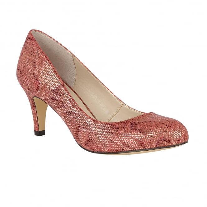 Red Snake Printed Colombina Court Shoes | Lotus