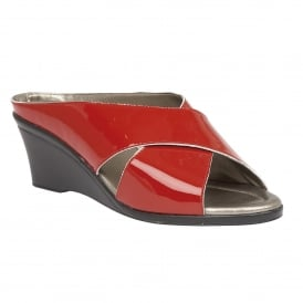 Red Trino Patent Leather Open-Toe Mule Sandals | Lotus