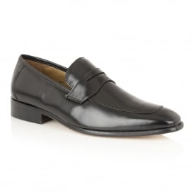 Men's Gambrel Black Leather Loafers