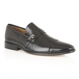 Men's Joss Black Leather Slip-On Shoes