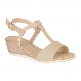 70633dd10 Rose Gold Kiera Wedge Open-Toe Sandals