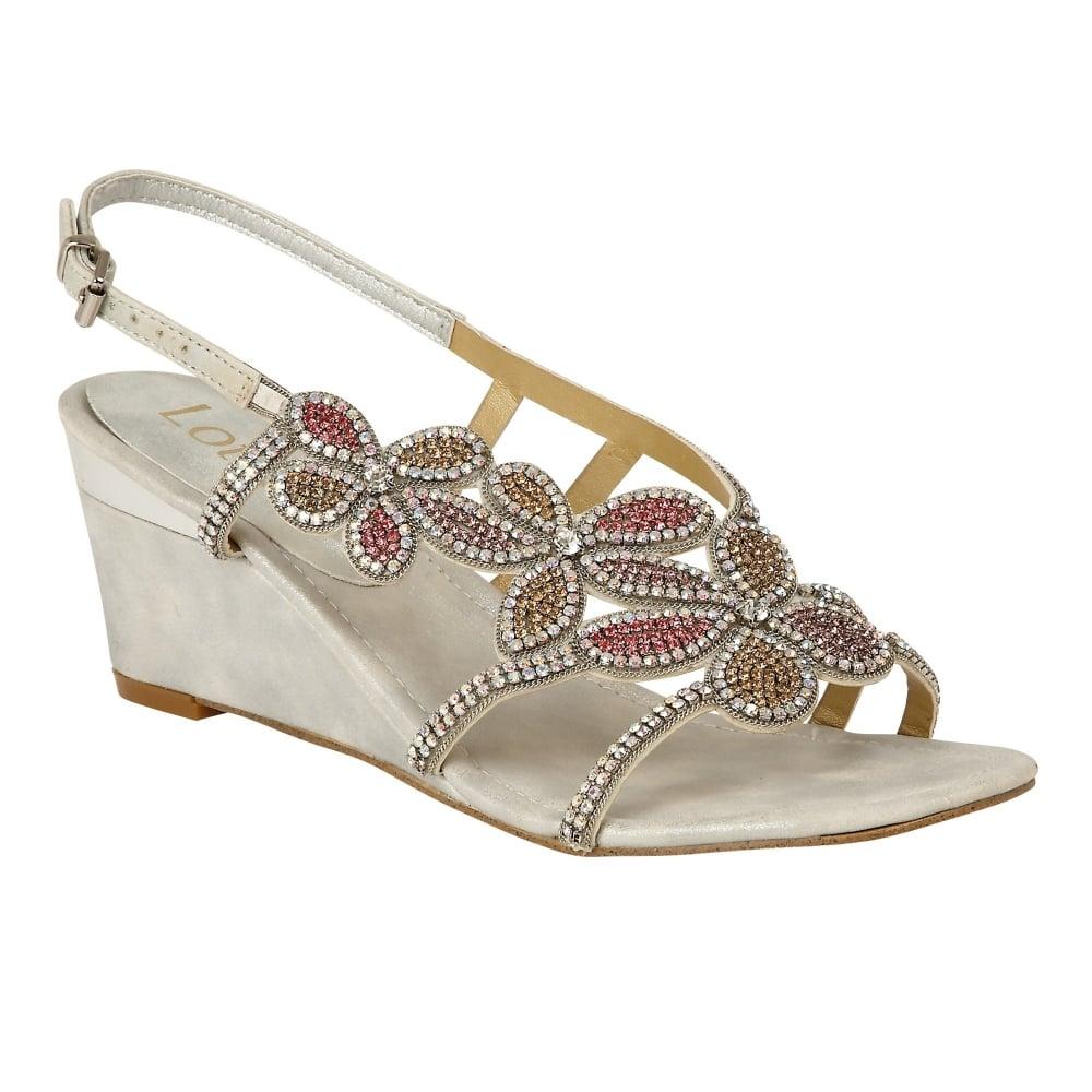 Ladies Diamante Sling Back Wedge Sandals Womens Open Toe Shoes Wedding Fashion