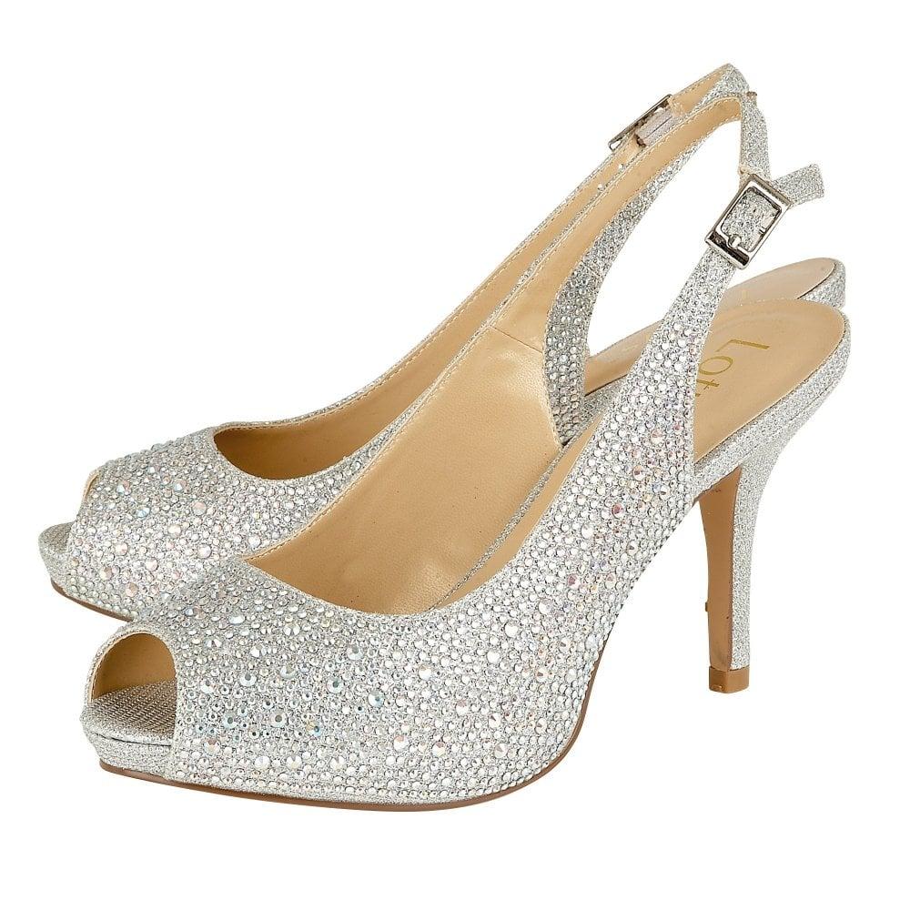 844cea3bee2 Silver/Diamante Astro Sling-back Shoes | Lotus