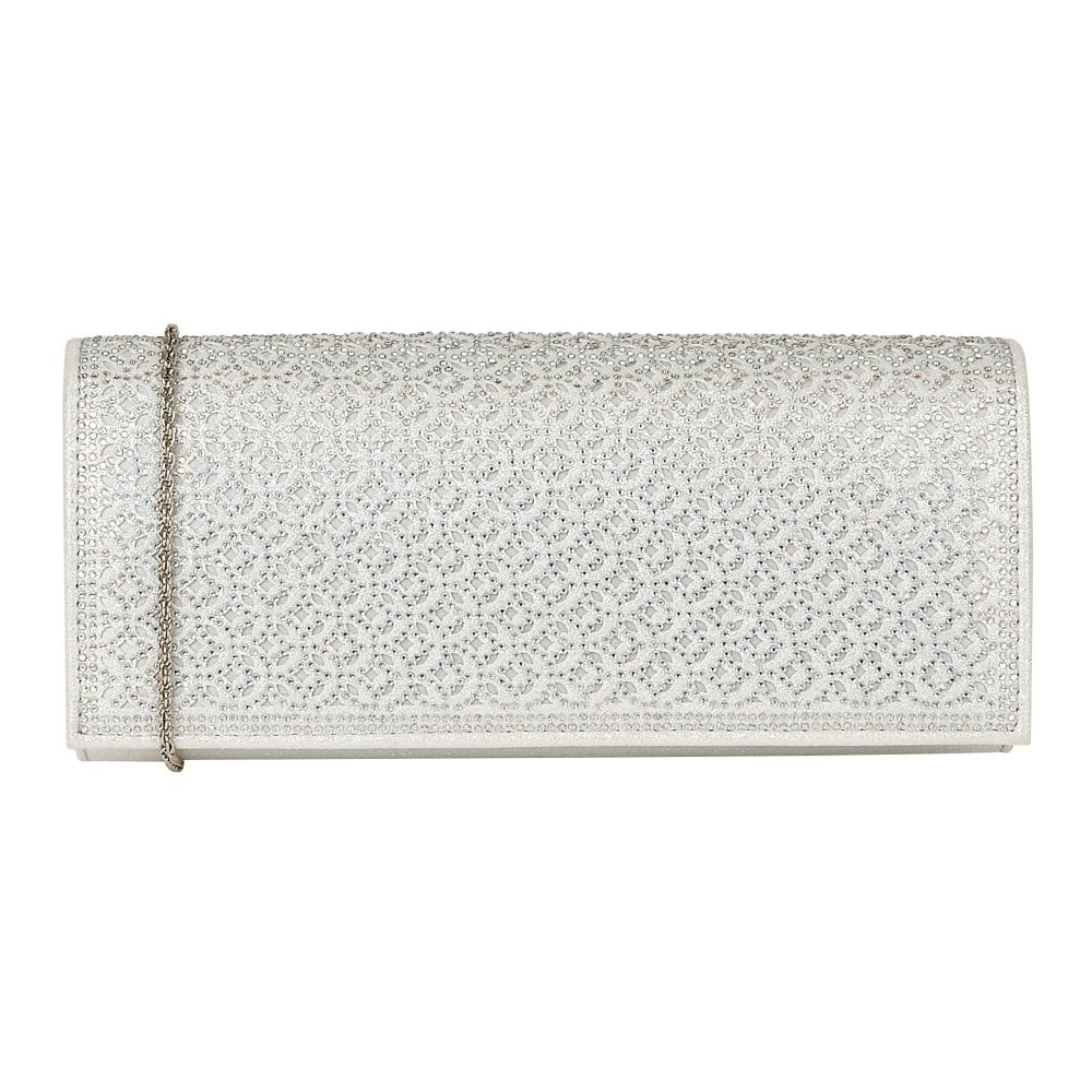 7b4aecb33 Silver & Diamante Tadine Clutch Bag | Lotus