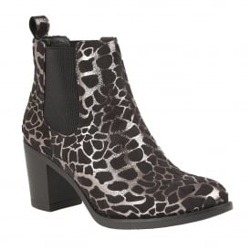 Silver Ennis Leopard Printed Ankle Boots