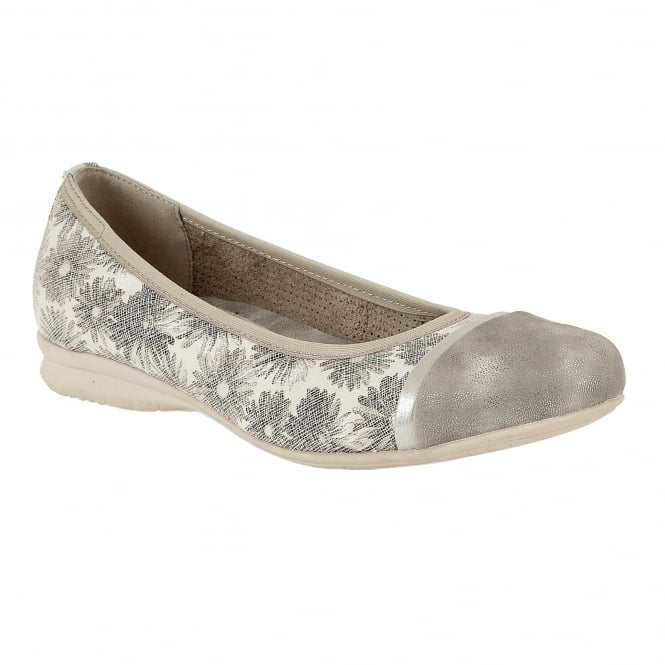 Silver Florated Kuma Ballerina Shoes | Lotus Relife