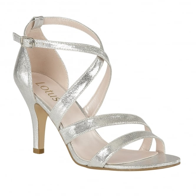 Silver Gabby Shimmer Strappy Sandals | Lotus