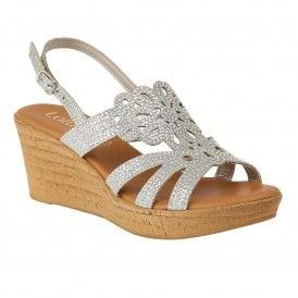ba4bebea47 Silver Glitz Ludisa Wedge Sandals | Lotus