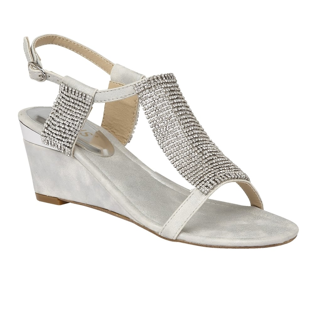 Silver Klaudia Chainmail Wedge Sandals
