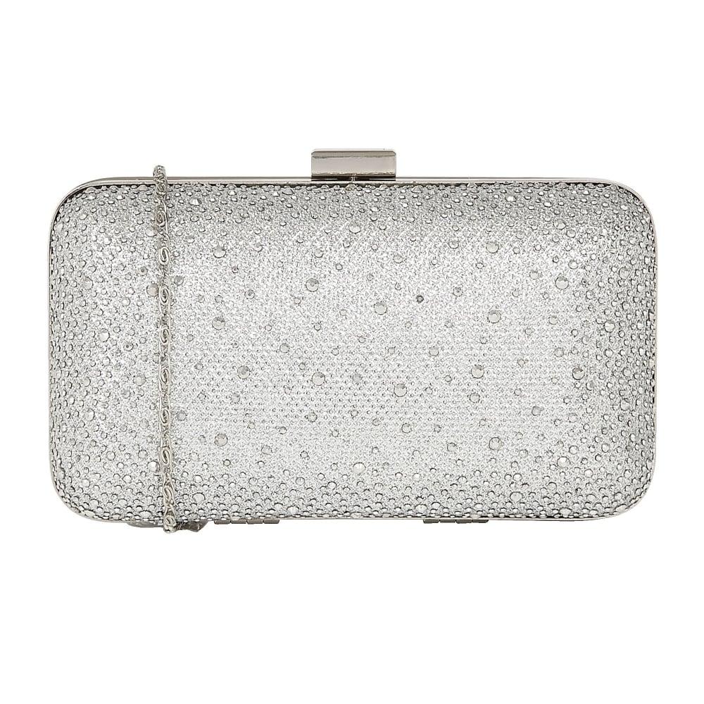4ce131eb13 Silver Lule Microfibre & Diamante Clutch Bag | Lotus