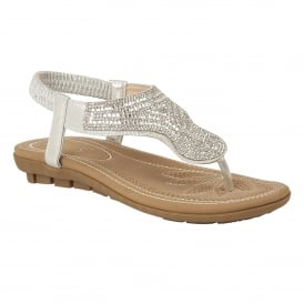 Silver Marieta Toe-Thong Sandals | Lotus