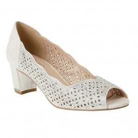 Silver Patent & Diamante Attica Open-Toe Shoes | Lotus