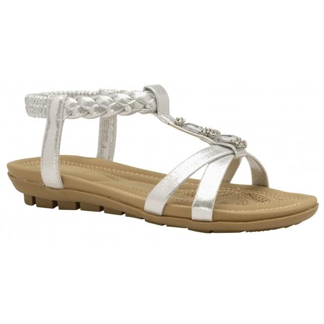 Silver Roverto Flat Sandals | Lotus
