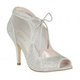 Silver Vanille Microfibre Diamante Shoes