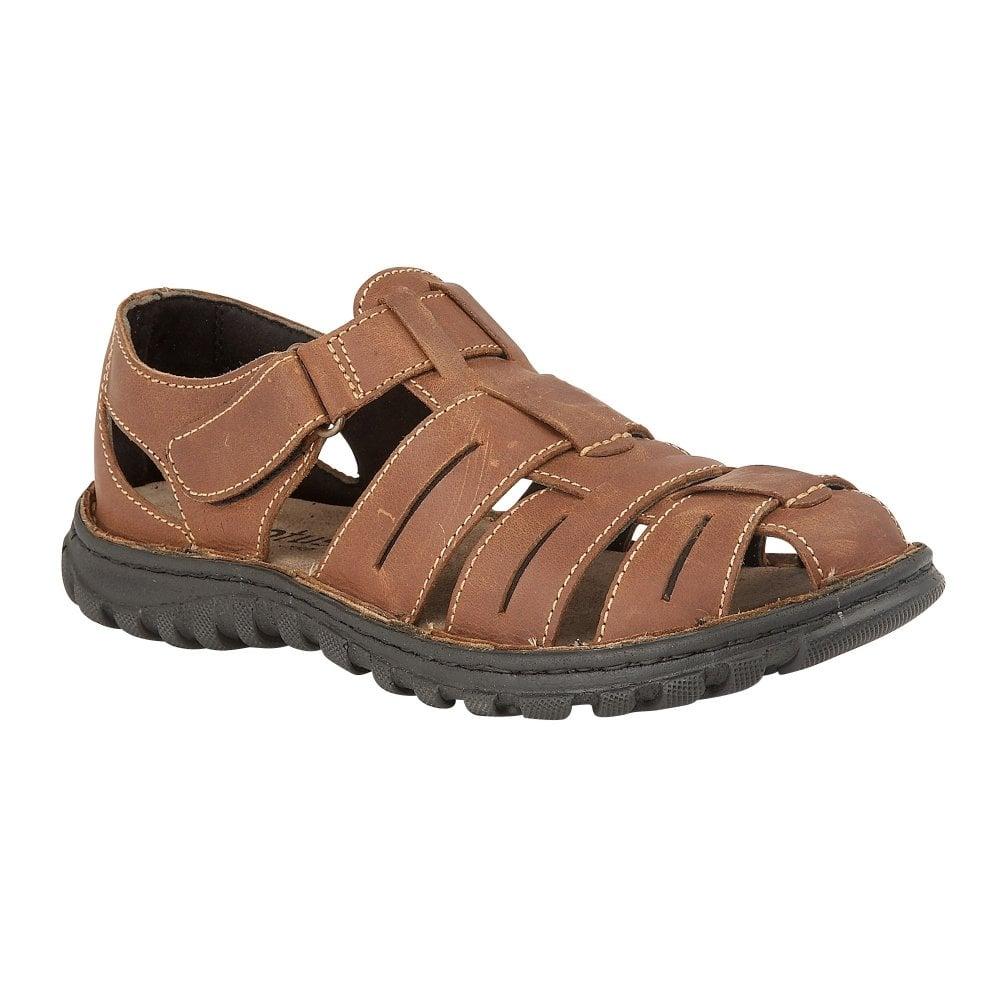 tan Lotus men's Bruno leather sandal