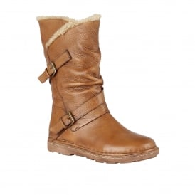 Tan Jolanda Leather Mid-Calf Boots