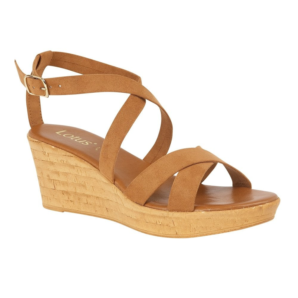 6e51bee5ad8 Buy the tan Lotus ladies  Nora wedge sandal online