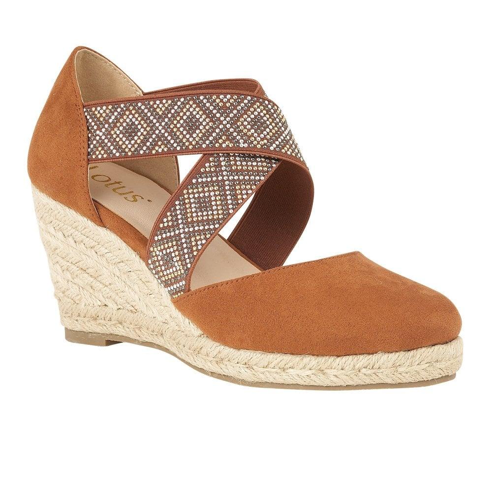 660f77b3651 Buy the tan Lotus ladies  Zade wedge shoe online