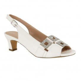 White Aubrey Open-Toe Sling-Back Sandals | Lotus