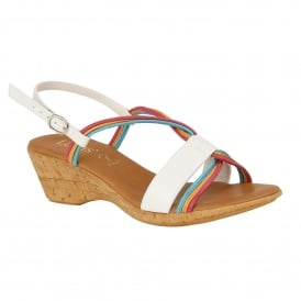 White Carrara Wedge Sling-Back Sandals | Lotus