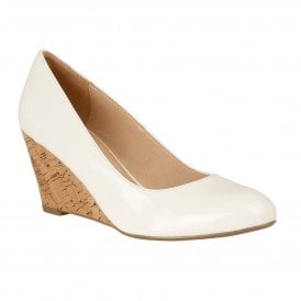 8004659bd72 White Crinkle Patent Georgia Wedge Shoes