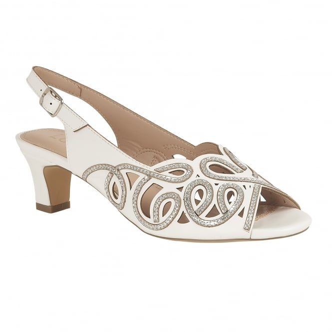White Marianna Open-Toe Sling-Back Shoes | Lotus