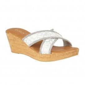 835552bca3 White Perla Mule Wedge Sandals | Lotus
