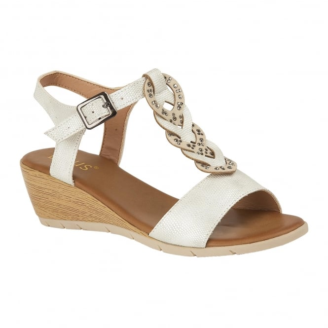 White Reptile-Print Orta Wedge Sandals | Lotus