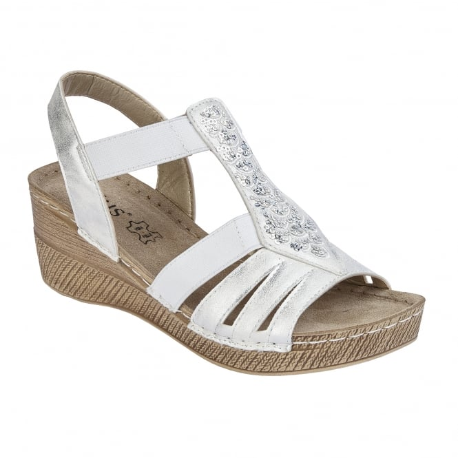 White Saltaran Wedge Sandals | Lotus