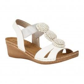 dec82e3928 White Saphira Wedge Sandals | Lotus