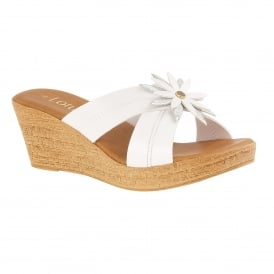 White & Silver Japonica Wedge Mule Sandals | Lotus