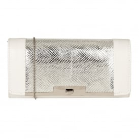 White & Silver Zonda Clutch Bag | Lotus