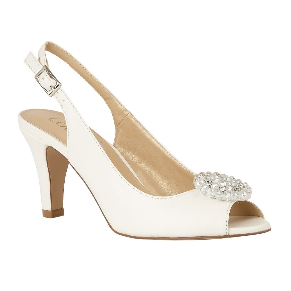 white open toe slingback heels