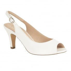 White Smooth Sommer Peep-Toe Sling-Back Shoes | Lotus