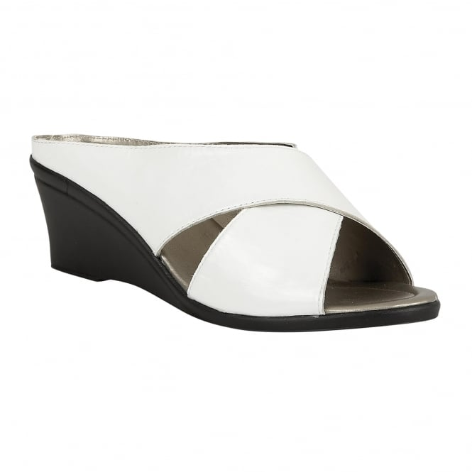 White Trino Leather Mule Sandals | Lotus